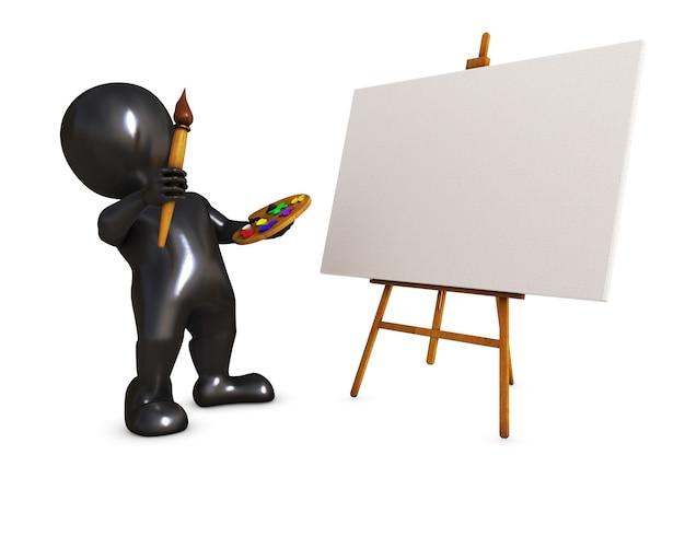 Persona pittura in una tela