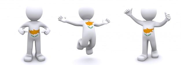 Personaggio 3d con texture con bandiera di cipro