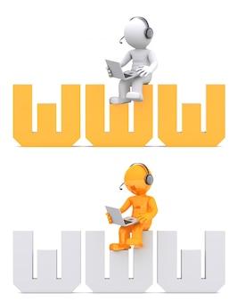 Personaggio 3d seduto sul segno del dominio www.
