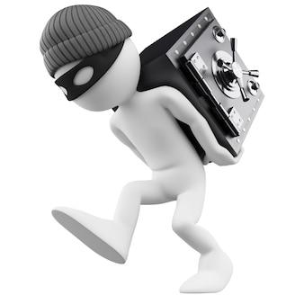 Personaggio bianco 3d. rapinatore di banche