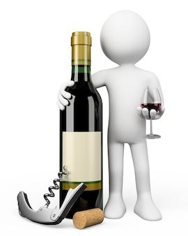 Personaggio bianco 3d. sommelier con una bottiglia di vino rosso