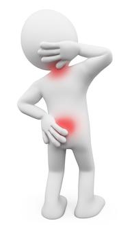 Personaggio bianco 3d. uomo con mal di schiena e collo