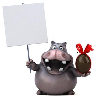 Personaggio divertente dell'ippopotamo 3d che tiene un cartello e un uovo di pasqua