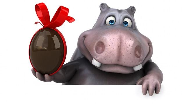 Personaggio divertente dell'ippopotamo 3d che tiene un uovo di pasqua del cioccolato