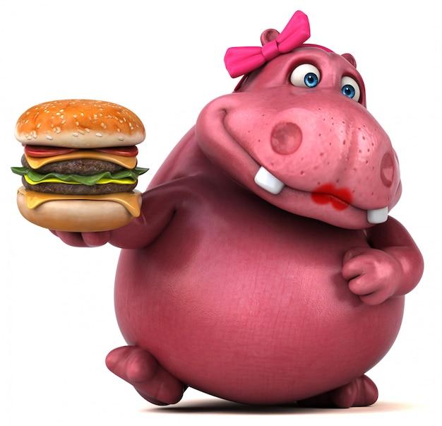 Personaggio ippopotamo rosa con hamburger