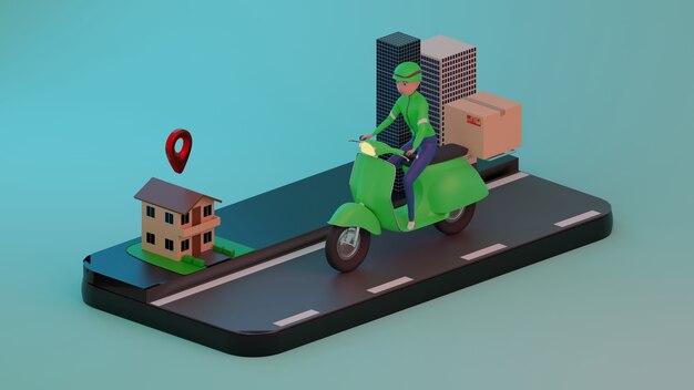 Personale di consegna carino prendi il pacco. rendering 3d. personaggio 3d.
