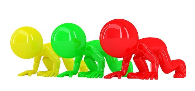 Persone 3d colorate alla linea di partenza. isolato. contiene il tracciato di ritaglio