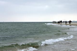 Persone che camminano sulla spiaggia, a piedi