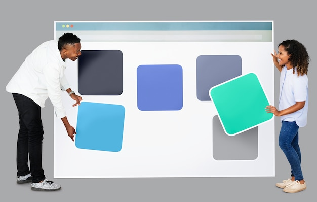 Persone con icone del modello web
