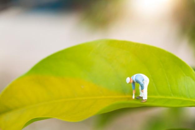 Persone in miniatura: pittori che colorano su una foglia verde con vegetazione sfocata