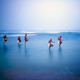 Pescatori tradizionali su palafitte nello sri lanka.