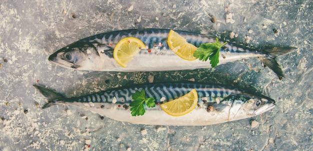 Pesce crudo di sgombro. messa a fuoco selettiva cibo e bevande.