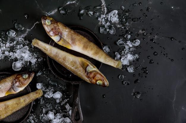 Pesce crudo fresco sano sul bordo nero con ghiaccio.