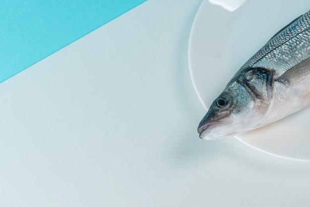 Pesce fresco crudo della spigola su un piatto bianco