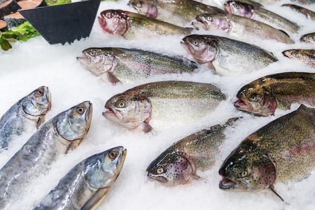 Pesce fresco su ghiaccio decorato per la vendita al mercato, salmone rosa