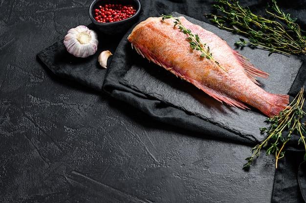 Pesce persico crudo su un bordo di pietra con timo.