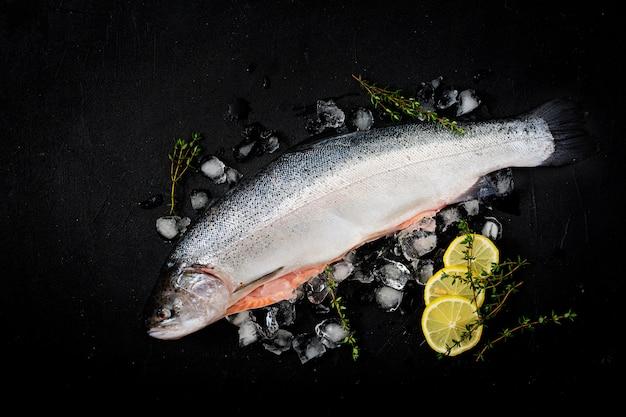Pesce rosso di color salmone crudo fresco con ghiaccio su una tavola scura. disteso. vista dall'alto