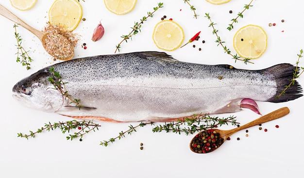 Pesce rosso di color salmone crudo fresco isolato su una tavola bianca. disteso. vista dall'alto