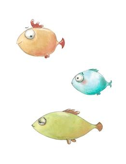 Pesci blu, arancioni, verdi nuotano con emozioni divertenti