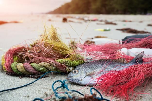 Pesci della morte sulla spiaggia con immondizia di plastica
