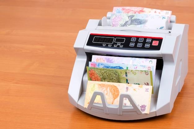Peso argentino in una macchina per contare