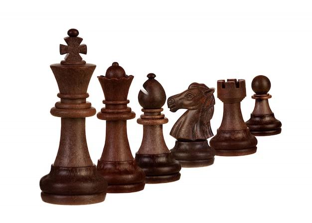 Pezzi degli scacchi isolati su bianco