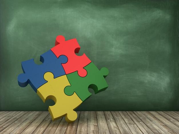 Pezzi di puzzle sulla lavagna