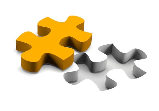 Pezzo arancio di puzzle su fondo bianco