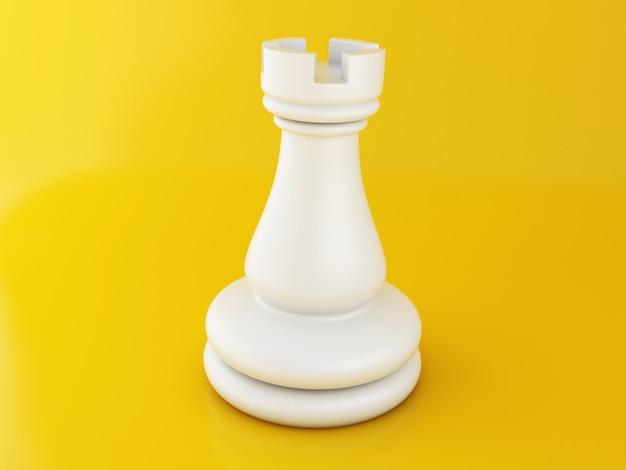 Pezzo degli scacchi 3d su giallo