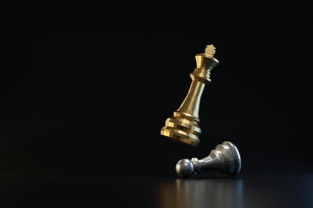 Pezzo degli scacchi dorato e d'argento sulla parete scura con il concetto di strategia o di pianificazione. re di scacchi e idee imprenditoriali. rendering 3d.