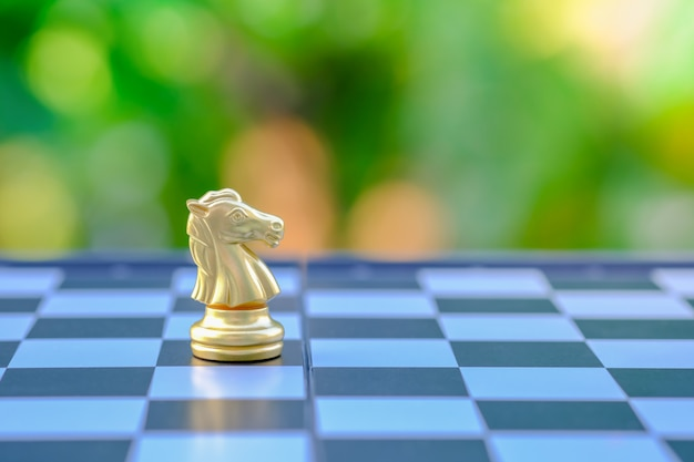 Pezzo di cavaliere di scacchi d'oro sulla scacchiera