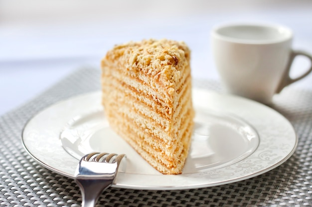 Pezzo di torta a strati con crema pasticcera e noci su un piatto. messa a fuoco selettiva