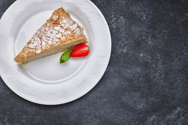 Pezzo di torta napoleone, su un piatto bianco, su uno sfondo scuro