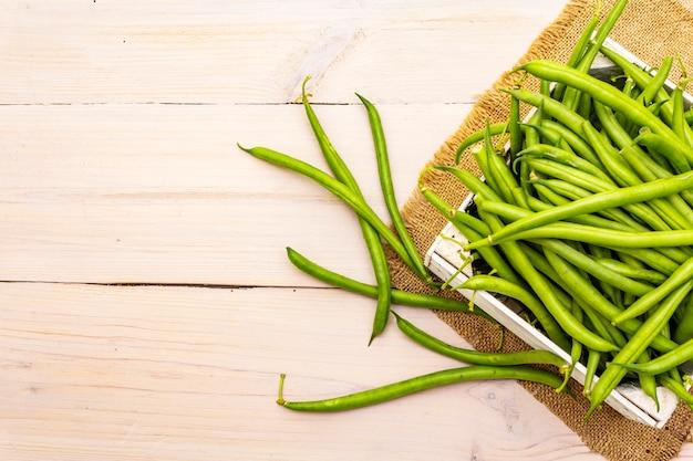 Phaseolus vulgaris, fagiolo verde comune o fagiolo in scatola di legno