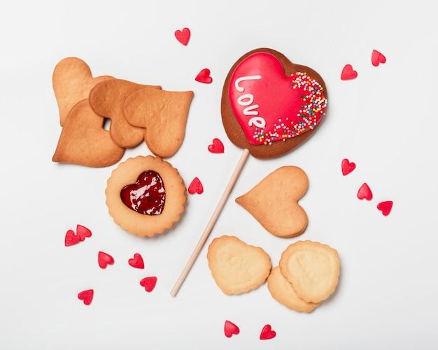Piana piatta a forma di cuore e gelatina