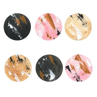 Pianeta acrilico rosa, nero e oro