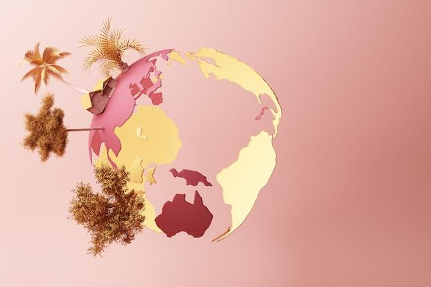 Pianeta colorato in pace su una rappresentazione rosa pastello 3d