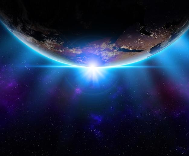 Pianeta terra dallo spazio all'orizzonte notturno e stelle.