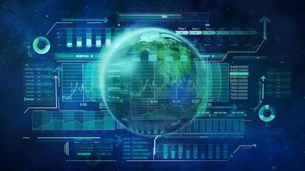 Pianeta terra e dati aziendali infografici che descrivono il movimento dei mercati azionari globali