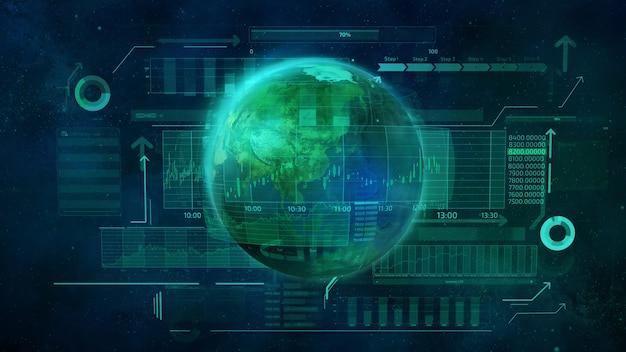 Pianeta terra e dati aziendali infografici che raffigurano il movimento digitale dell'economia globale