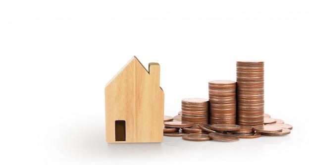 Piani di risparmio del modello della casa della pila della moneta per alloggio