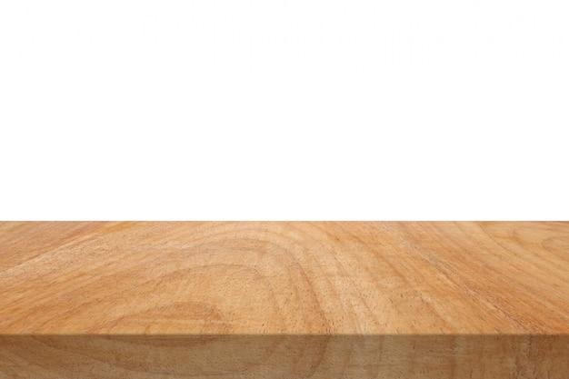 Piano d'appoggio di legno isolato su fondo bianco.