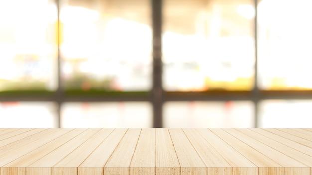 Piano d'appoggio di legno sopra con il fondo della parete della finestra di vetro della sfuocatura.