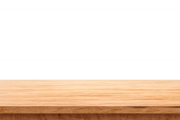 Piano d'appoggio di legno su fondo bianco con il concetto dell'esposizione del prodotto. tavolo vuoto in legno. rendering 3d.