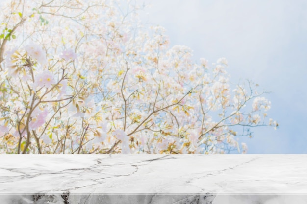 Piano d'appoggio di pietra e fondo vago dei fiori con il filtro d'annata
