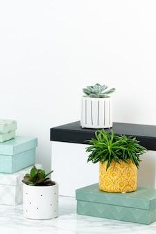 Piano tavolo con scatole per arrangiamento, starage e piante in vaso. concetto di casa accogliente e confortevole