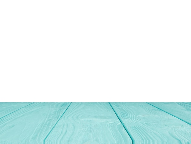 Piano tavolo turchese di fronte a sfondo bianco