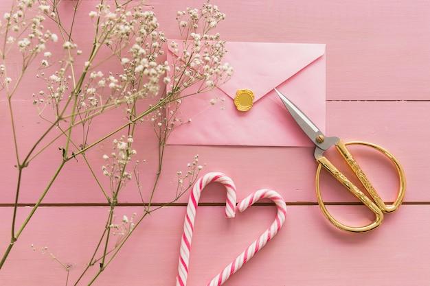 Pianta con fiori vicino busta, forbici e bastoncini di zucchero