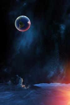Pianta della terra dal punto di vista della superficie della luna