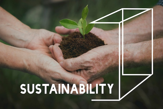 Piantare alberi natura ambiente salva world ecology word graphic